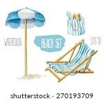 Beach Set. Vector Watercolor...