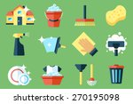 vector set of cleaning tools....