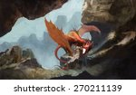 Red Dragon In Rocky Cave
