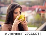 beautiful young woman drinking... | Shutterstock . vector #270223754