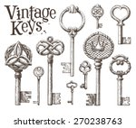 retro key vector logo design... | Shutterstock .eps vector #270238763
