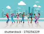 group of young people dancing... | Shutterstock .eps vector #270256229