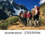 team trekking in cordiliera...   Shutterstock . vector #270259346