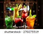 glasses of cocktails on bar... | Shutterstock . vector #270275519