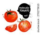 red tomato watercolor vector... | Shutterstock .eps vector #270275810