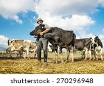 farmer and cows | Shutterstock . vector #270296948
