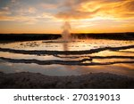 Great Fountain Geyser at Yellowstone National Park Before an Eruption at Sunse