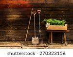 Old Wooden Bench Garden Tools A ...