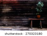old wooden bench young green... | Shutterstock . vector #270323180
