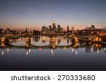 Frankfurt am Main. Image of Frankfurt skyline during sunset  - stock photo