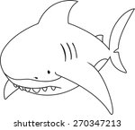 sad looking great white shark... | Shutterstock .eps vector #270347213