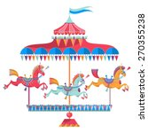 Vintage Carousel With Colorful...