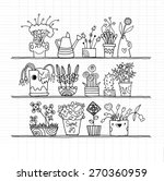 hipster hand drawn flowers in...   Shutterstock .eps vector #270360959