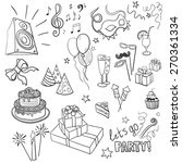 set of sketch party objects... | Shutterstock .eps vector #270361334