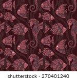 vector ornate sea seamless... | Shutterstock .eps vector #270401240
