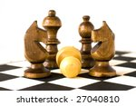 """Small photo of """"Preponderance"""" Chess figures on chessboard."""