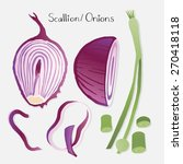onions and greens  garlic... | Shutterstock .eps vector #270418118