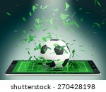 tablet pc with soccer field and ... | Shutterstock . vector #270428198