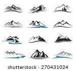 set of twelve mountain icons  | Shutterstock .eps vector #270431024