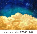 puffy clouds and a blue sky... | Shutterstock . vector #270431744