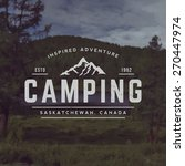 vector camping emblem. outdoor activity symbol with grunge texture on mountain landscape background | Shutterstock vector #270447974