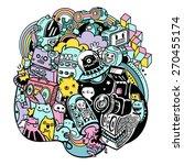 doodle robots | Shutterstock .eps vector #270455174