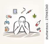 addict man and set of addiction ... | Shutterstock .eps vector #270465260