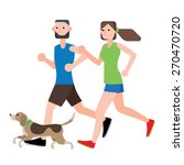 Stock vector couple running workout with their dog vector illustration isolate on white background 270470720