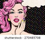 Pop Art Illustration Of Girl...