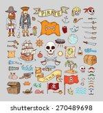doodle pirate elememts  vector ... | Shutterstock .eps vector #270489698