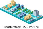 vector  isometric city center... | Shutterstock .eps vector #270490673