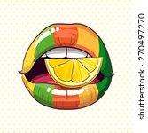 lemon glossy style rainbow lips | Shutterstock .eps vector #270497270