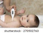 mother measures the temperature ...   Shutterstock . vector #270502763