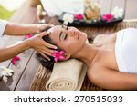 masseur doing massage the head... | Shutterstock . vector #270515033