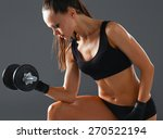 athletic woman pumping up... | Shutterstock . vector #270522194