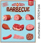 vintage meat for bbq design set | Shutterstock .eps vector #270529166