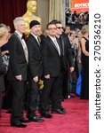 Small photo of LOS ANGELES, CA - MARCH 2, 2014: U2 with Bono & The Edge at the 86th Annual Academy Awards at the Hollywood & Highland Theatre, Hollywood.