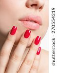 closeup of female lips and hand ... | Shutterstock . vector #270554219