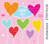 balloon heart colorful cartoon... | Shutterstock .eps vector #270574118