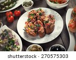 spanish tapas food  healthy... | Shutterstock . vector #270575303