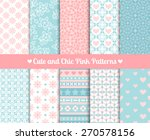 cute and chic pink and blue... | Shutterstock .eps vector #270578156