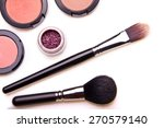 Постер, плакат: make up brushes and shadows