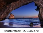 cathedral cove at sunrise ... | Shutterstock . vector #270602570