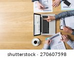 business team hands at work... | Shutterstock . vector #270607598