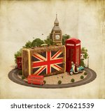 old suitcase with british flag  ... | Shutterstock . vector #270621539