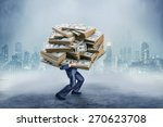 businessman with huge amount of ... | Shutterstock . vector #270623708