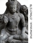 Small photo of KOLKATA, INDIA - FEBRUARY 15: Six armed Avalokitesvara, from 10th century found in Basalt Nalanda, Bihar now exposed in the Indian Museum in Kolkata, on February 15, 2014