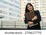 businesswoman holding document... | Shutterstock . vector #270627770
