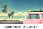Vintage Car In The Beach With ...