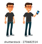 Funny Cartoon Guy With Mobile...